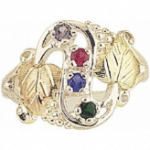 Black Hills Gold Silver Mother's Birthstone Ring