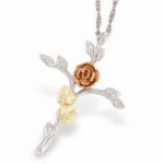 Black Hills Gold Silver Rose Cross Necklace