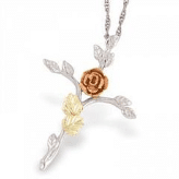 Black Hills Gold Silver Rose Cross Necklace