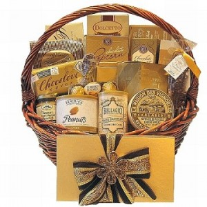 Golden Gourmet Holiday gift basket