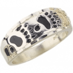 Men's Black Hills Gold Silver Bear Track Ring