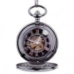 Personalized Ice Black Mechanical Pocket Watch