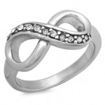 Personalized Stainless Steel Infinity Ring with Cubic Zirconia