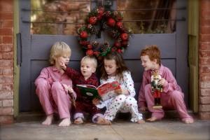 Children reading Christmas story