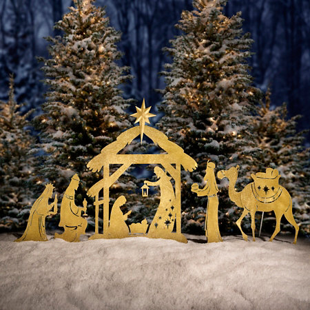 Glittering Nativity Silhouette Yard Decor
