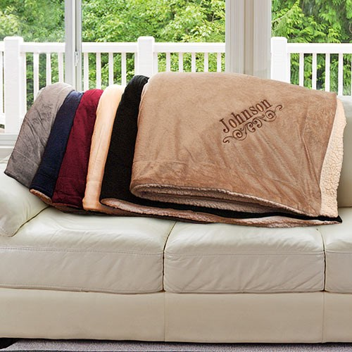 Embroidered Sherpa Blanket# E9610184X