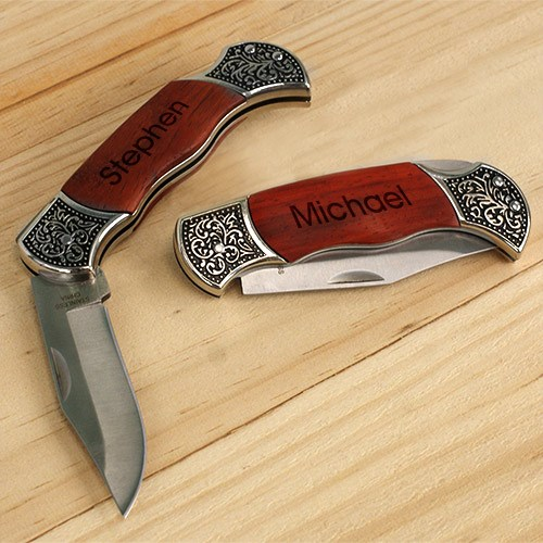 Engraved Rosewood DecoGrip Hunting Knife #L636959