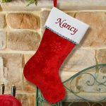 Embroidered Snowflake Red Christmas Stocking #S34589