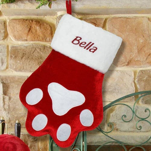 Embroidered Red Paw Christmas Stocking# S34689