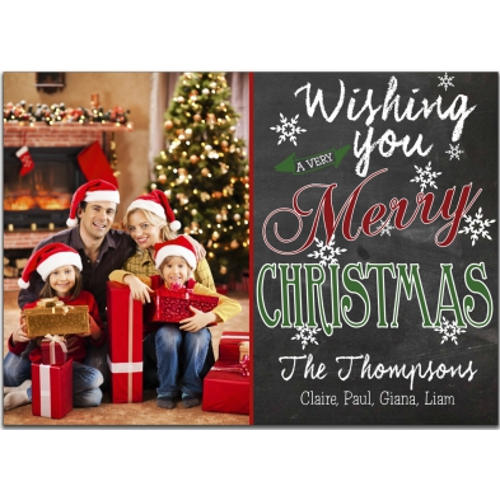 Chalkboard Wishes Photo Holiday Cards