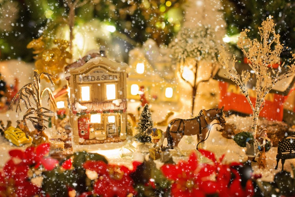 retro christmas decorations village