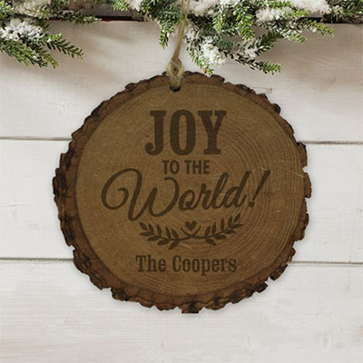Personalized Joy to the World Rustic Wood Ornament