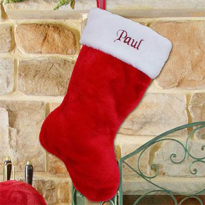 Red Plush Christmas Stocking