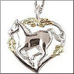 Black Hills Gold Silver Horse Necklace