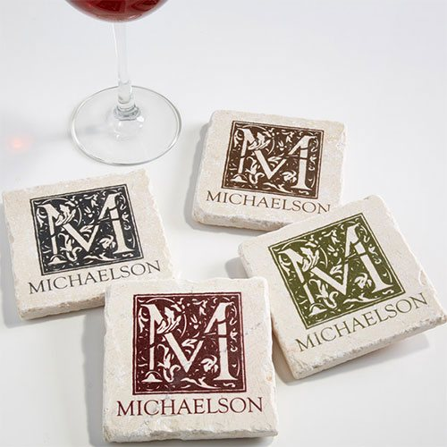 Custom Monogram Stone Coasters
