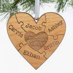 Wooden Heart Custom Family Ornaments