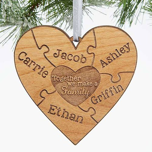 Wooden Heart Custom Family Ornaments