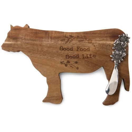 Good Food Good Life Acacia Cheese Board with Sunflower Spreader