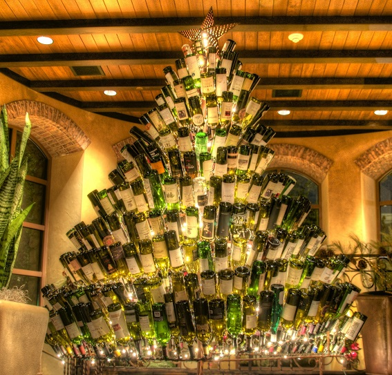 Wine bottle christmas trees christmas gifts for How to make a wine tree