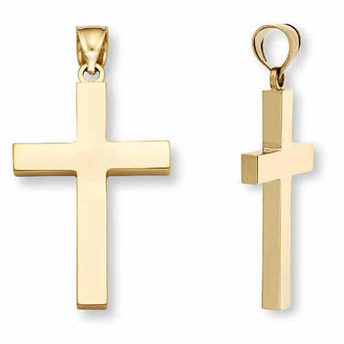 Men's 14K Gold Polished Cross Pendant