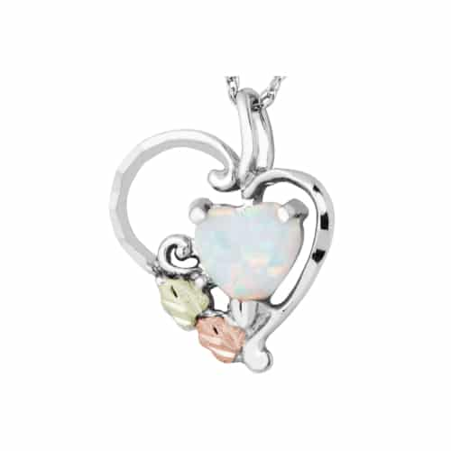 Silver Heart With Opal Neklace